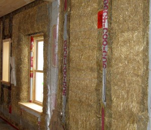 Internal wall with straw bales.